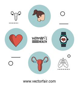 white background infographic woman health with blue circular frames with woman head and heart and female reproductive system and clock pulse monitor