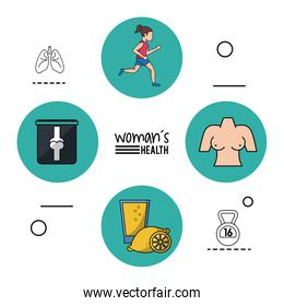 white background infographic woman health with blue circular frames with woman running and woman bust and limonade and x-ray