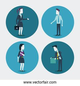 white background with colorful circle frames of businesswoman with briefcase and folder and businessman with folder