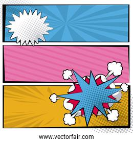 multicolored square banner in pop art style halftone with stripes and cloud dialog callout box
