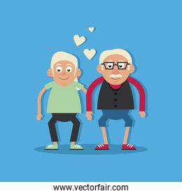 background light blue color with couple of grandparents in love and holding hands