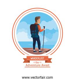 poster color of wanderlust the adventure await with climbing man at the top of the mountain