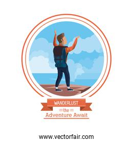 poster color of wanderlust the adventure await with climber man celebrating at the top of mountain
