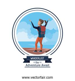 poster color of wanderlust the adventure await with climber woman celebrating at the top of mountain