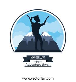 poster color silhouette of wanderlust the adventure await with climber woman celebrating at the top of mountain