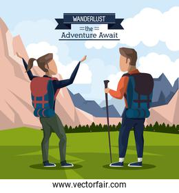 colorful poster of wanderlust the adventure await with climber couple in outdoor landscape