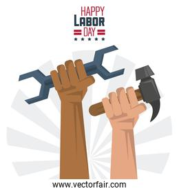 colorful poster of happy labor day with hands with tools wrench and hammer