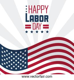 colorful poster of happy labor day with the american flag