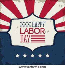 colorful poster of happy labor day with emblem with american flag colors