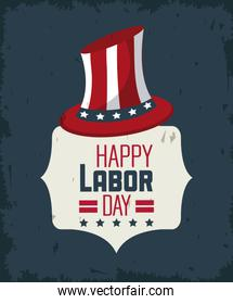 colorful poster of happy labor day with american flag in hat