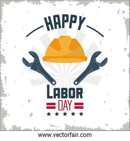 colorful poster of happy labor day with protective helmet and spanner tool