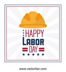 colorful poster of happy labor day in frame with protective helmet