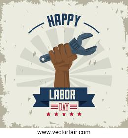 colorful poster of happy labor day with afro american hand holding spanner