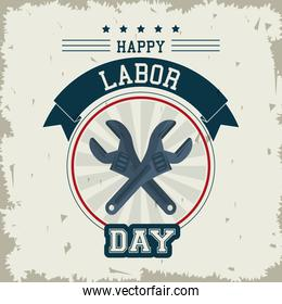 colorful emblem of happy labor day with crossed wrenches