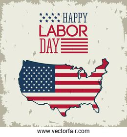 colorful poster of happy labor day with american flag in shape of the united states map