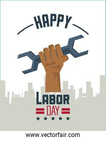 colorful poster of happy labor day with silhouette of city and hand holding tool wrench