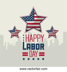 colorful poster of happy labor day with silhouette of city in background and american flag in shape of stars