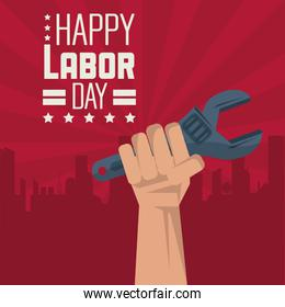 colorful poster of happy labor day with red silhouette of city in background and hand with spanner