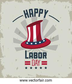 colorful emblem of happy labor day with american flag in hat