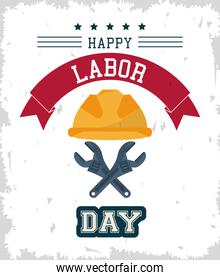 colorful poster of happy labor day with protective helmet and crossed spanners