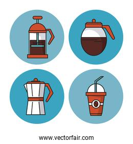 white background with colorful circular frames with icons of coffee as kettle and glass jar and disposable cup