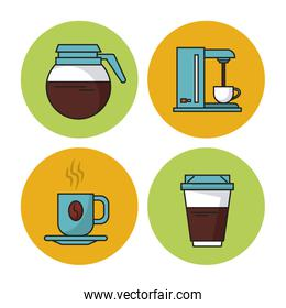 white background with colorful circular frames with icons of coffee as kettle and coffee maker and porcelain cup and disposable cup
