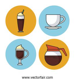 white background with colorful circular frames with icons of different drinks with coffee
