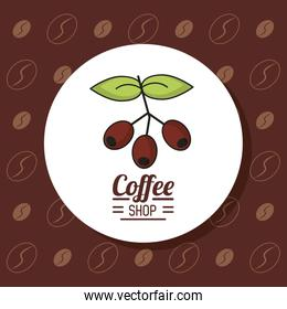 colorful poster with emblem coffee shop with branch and fruits of coffee