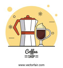 colorful poster of coffee shop with kettle and cappuccino cup