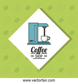 colorful poster of coffee shop with coffee maker in white rhombus and green background