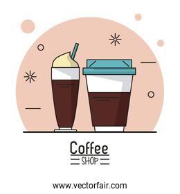 colorful poster of coffee shop with disposable coffee cup and cappuccino cup