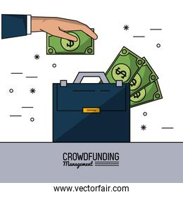 colorful poster of crowd funding management with executive briefcase with money bills
