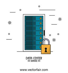 colorful poster of data center service with rack server secure