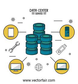 colorful poster of data center service with computer server and icons around