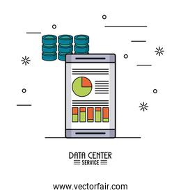 colorful poster of data center service with smartphone with storage data info of server