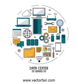 colorful poster of data center service with tech device icons in shape of circle
