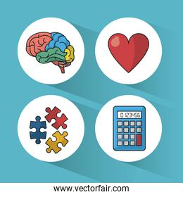 blue background with colorful spheres with icons of brain and heart and puzzle pieces and calculator