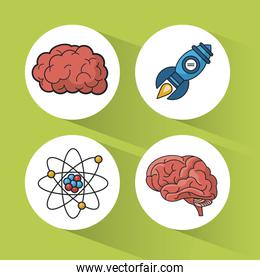 green background with colorful spheres with icons of brain and atom and rocket