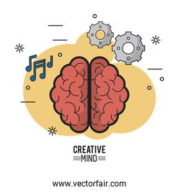 colorful poster of creative mind with the brain top view of its two hemispheres and icons of pinions and musical notes