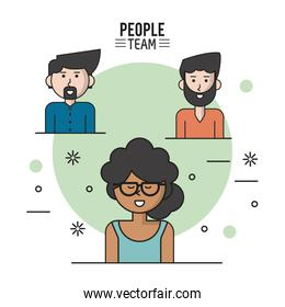 colorful poster of people team with half body and her afro with collected curly hair and glasses and caucasian men with beard