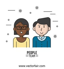colorful poster of people team with half body couple and her afro with short hair and glasses and him caucasian in casual clothes