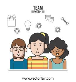 colorful poster of team work with half body women and the first with glasses and the second with collected hair and the third with curly hair and glasses and dark skin