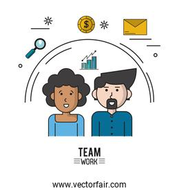 colorful poster of team work with half body couple with woman afro with curly hair and caucasian man with van dyke beard and icons magnifying glass and coin and envelope mail