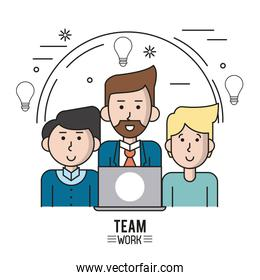 colorful poster of team work with half body caucasian men and one with suit and beard and laptop computer