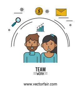 colorful poster of team work with half body couple with dark skin woman with long hair and caucasian man with beard and icons magnifying glass and coin and envelope mail