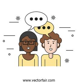 white background with teamwork couple with bubble speech woman of dark skin with glasses and caucasian curly man