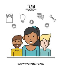 colorful poster of team work with half body women with dark skin in closeup and two men on back side