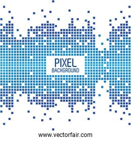 pixel background text design over white and blue pixel background