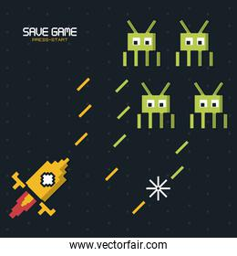 colorful poster of save game press start with graphics of spatial game