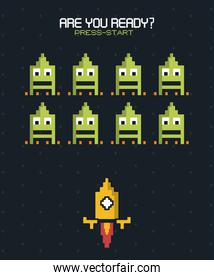 colorful poster of are you ready press start with graphics of spatial game with yellow rocket